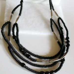 Chicos Long Multi Strand Bead Boho Necklace Black